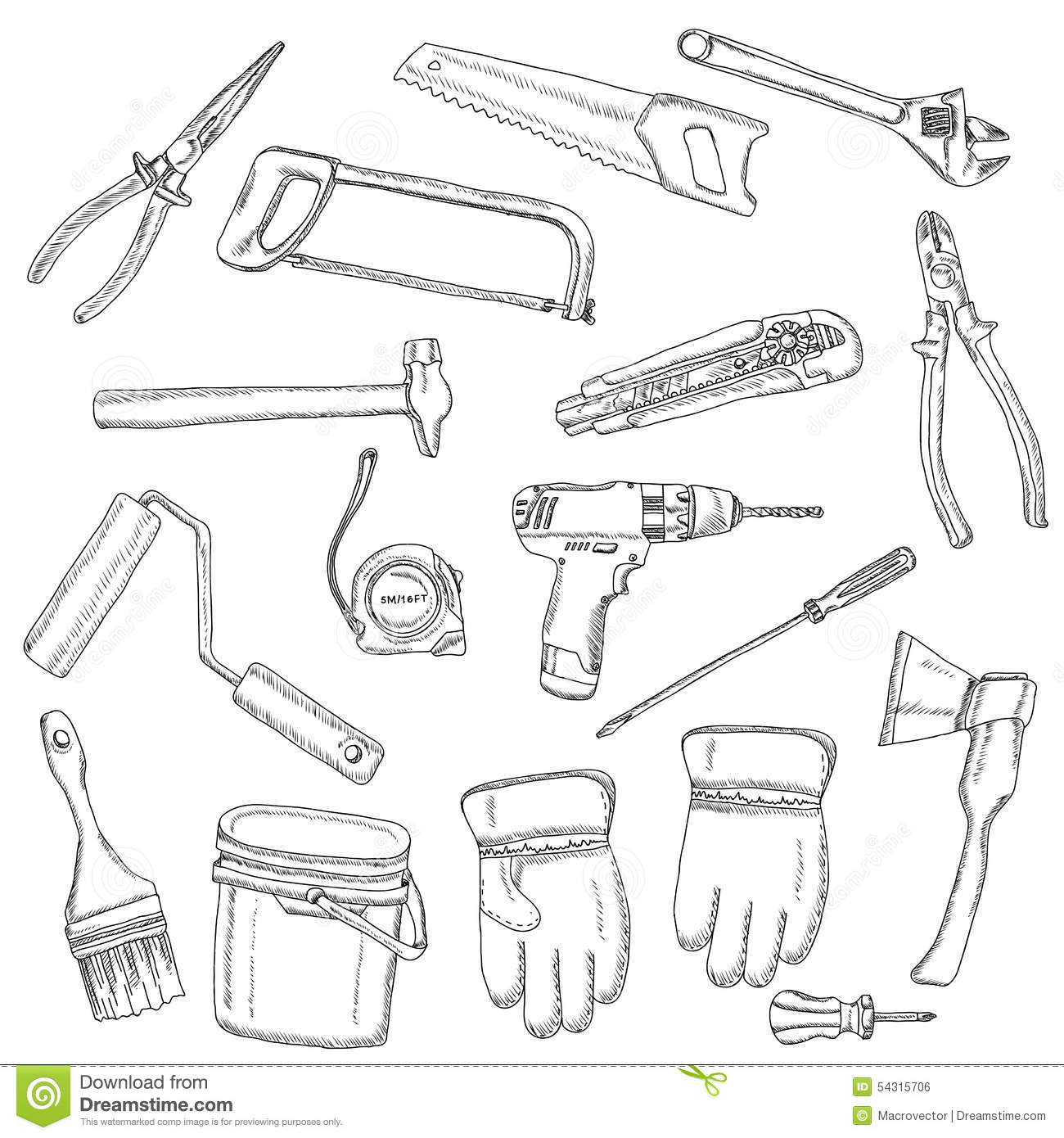 House Renovation Tools Set Black Outline Stock Vector