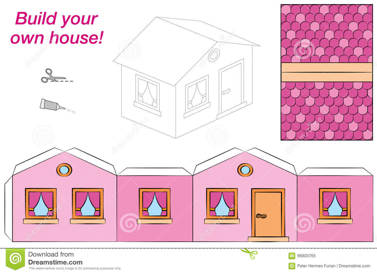 House Template Paper Model Pink Stock Vector