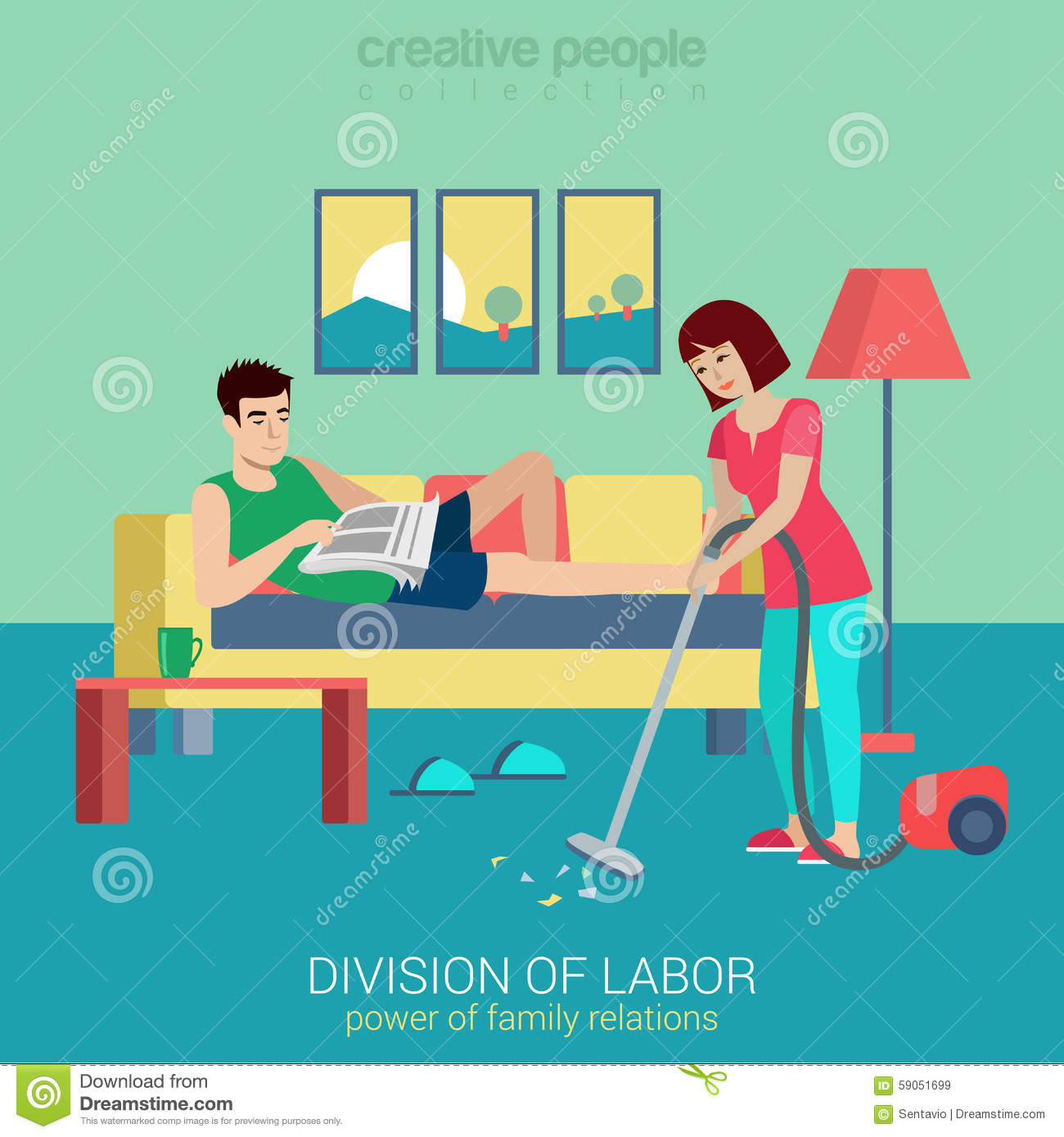 Household Flat Vector Family Concept Woman Vacuum Clean