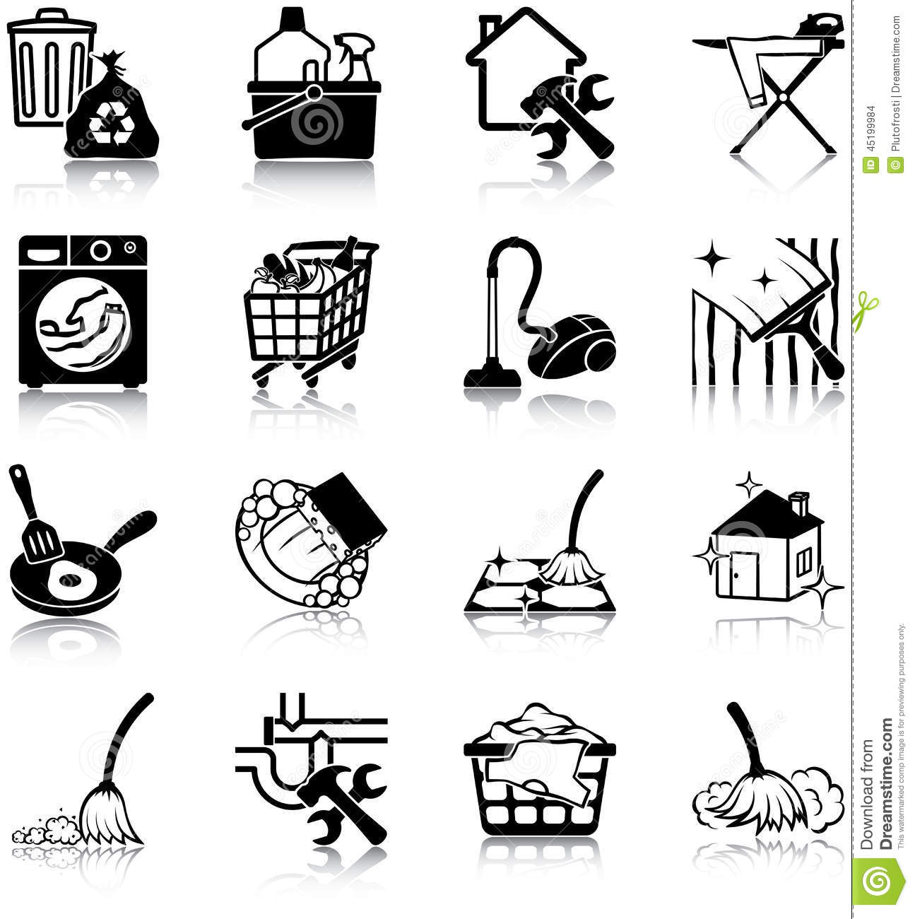 Housekeeping Icons Stock Vector