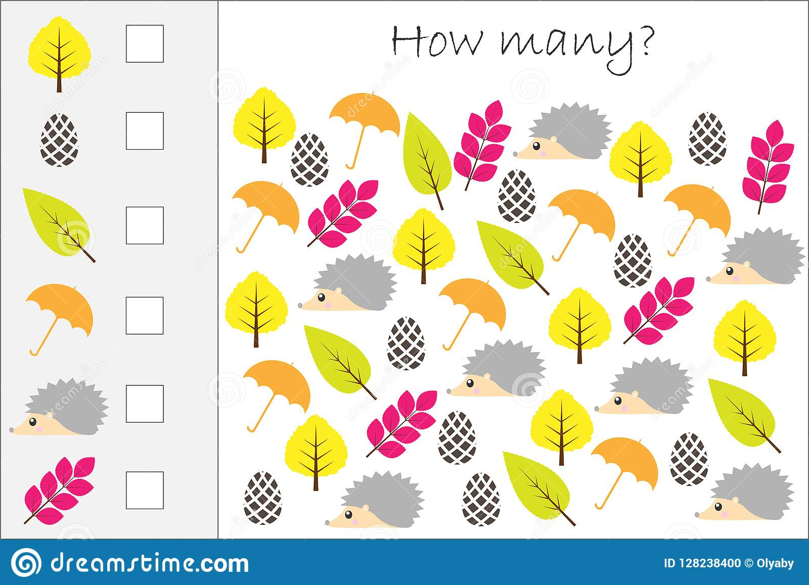 How Many Counting Game With Autumn Pictures For Kids Educational Maths Task For The Development