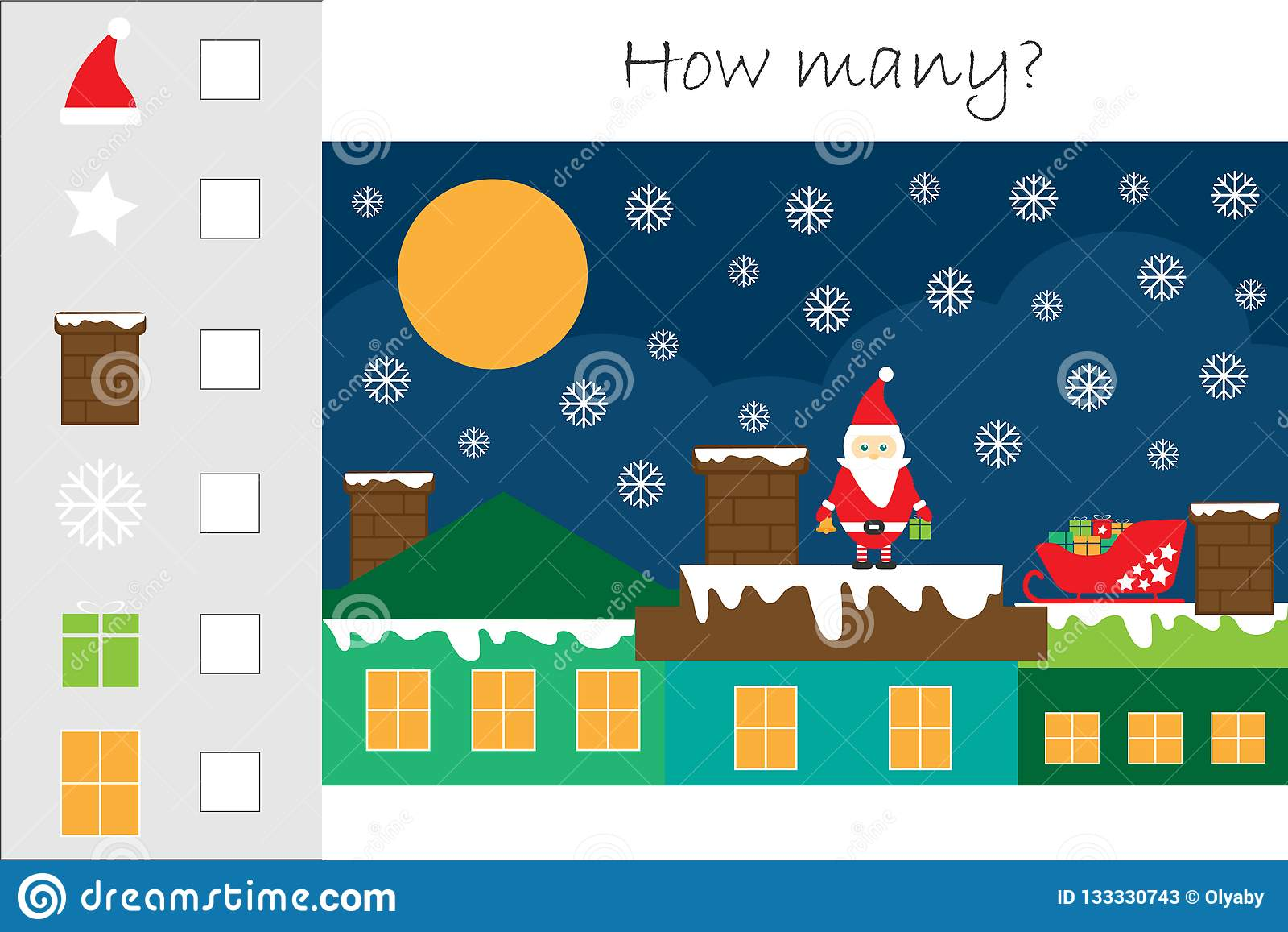 How Many Counting Game With Christmas Picture For Kids