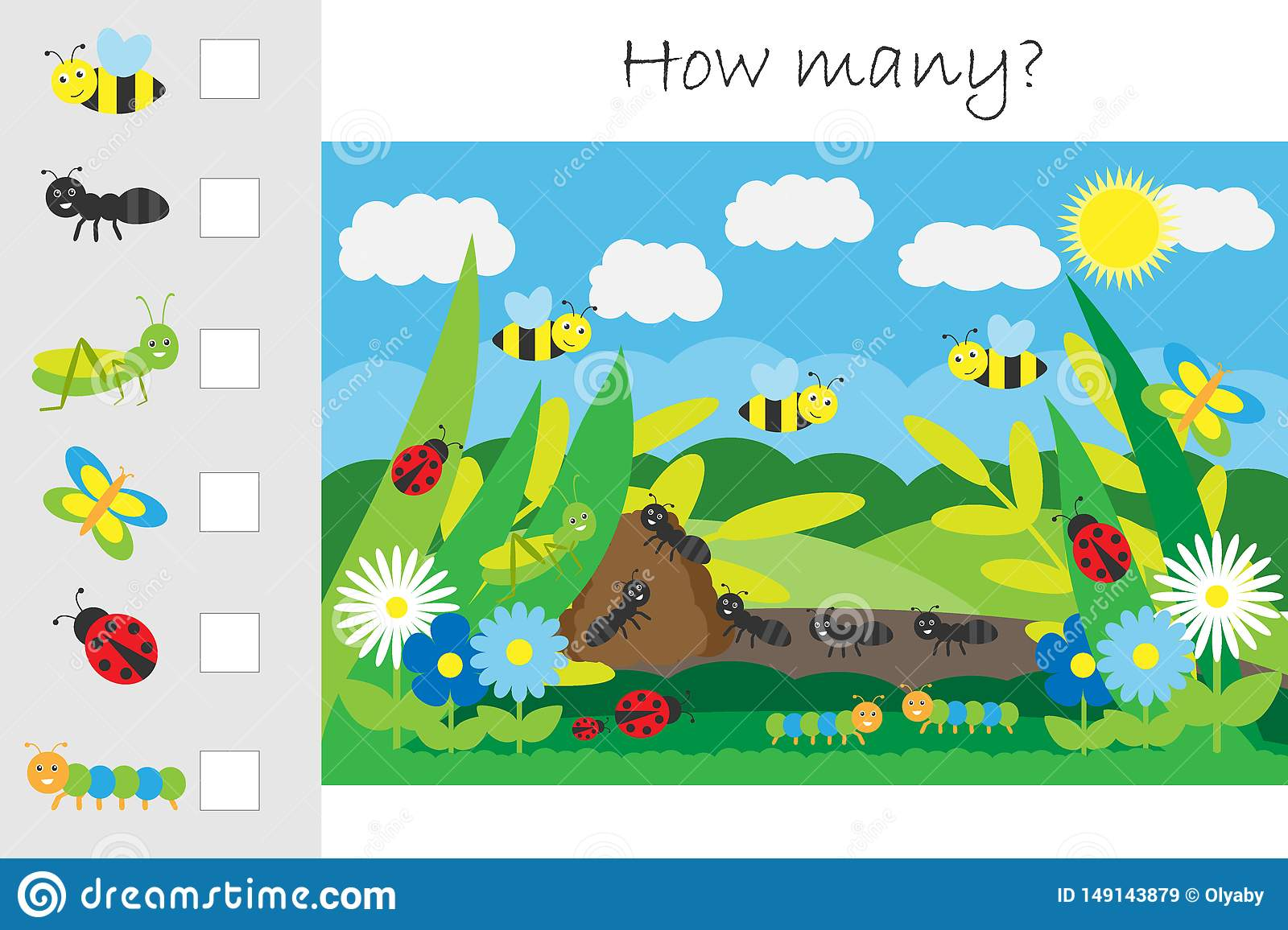 How Many Counting Game Glade With Insects For Kids
