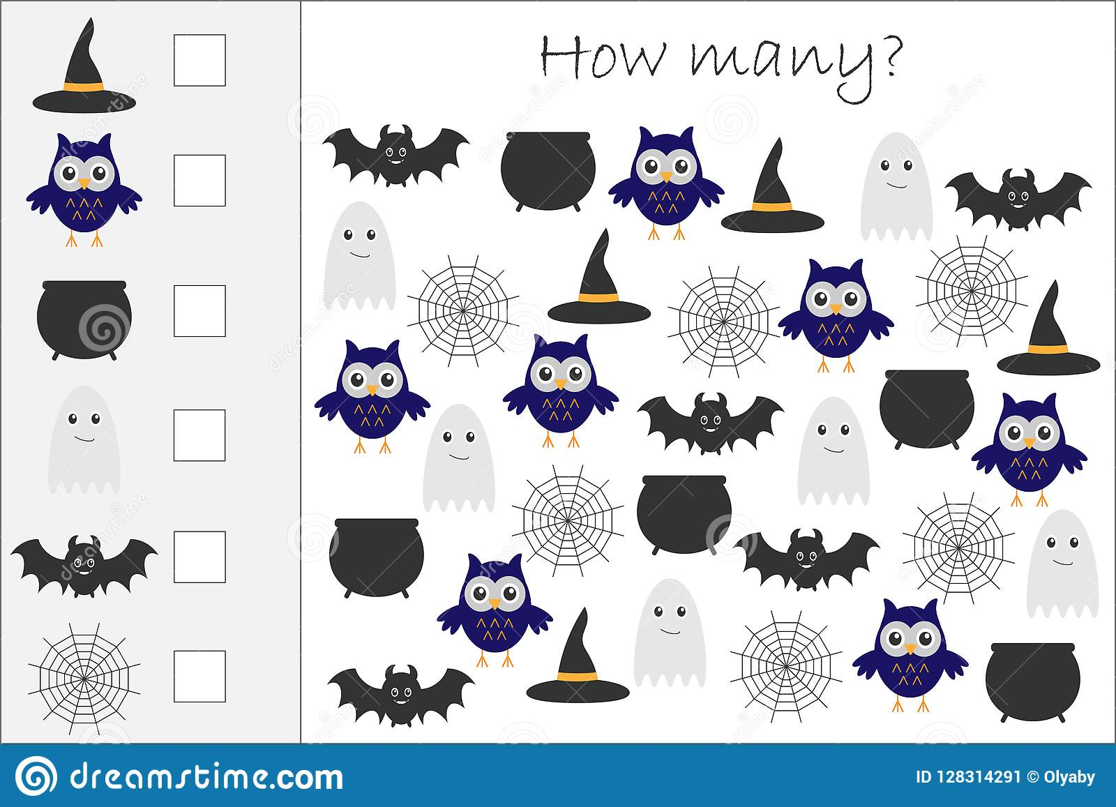 How Many Counting Game With Halloween Pictures For Kids