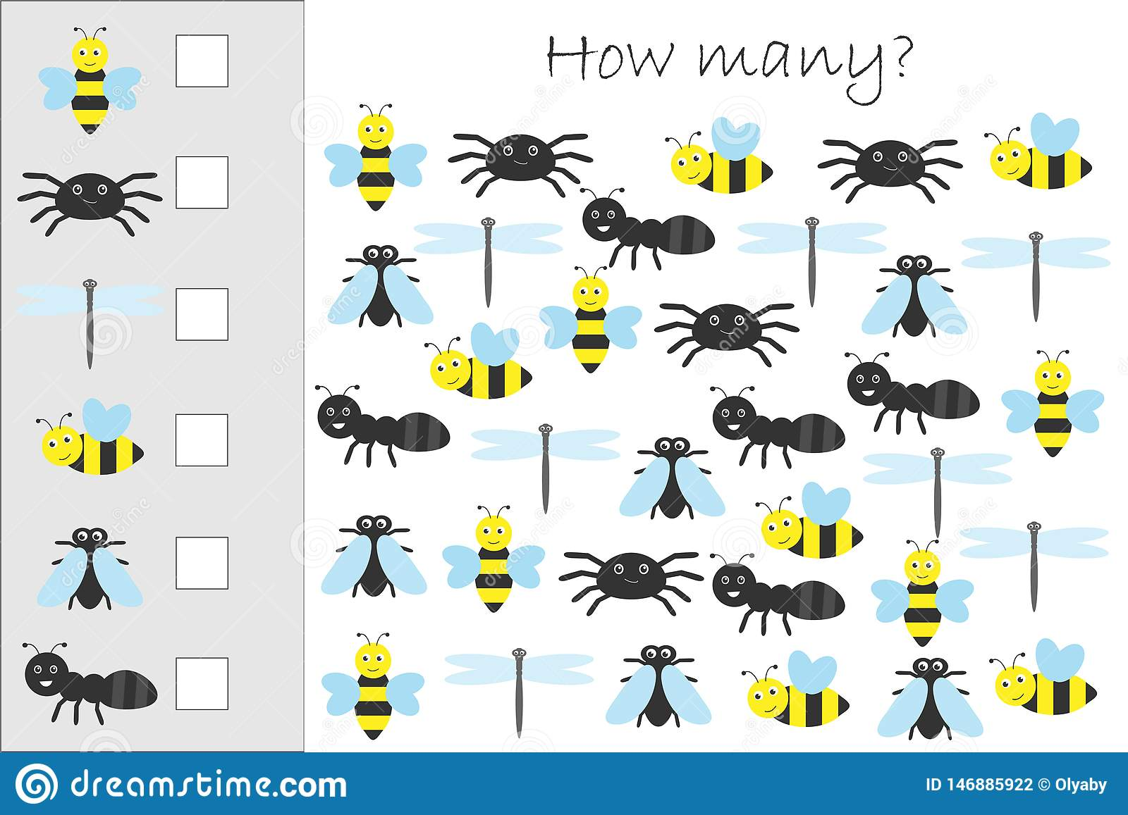 How Many Counting Game With Insects For Kids Educational