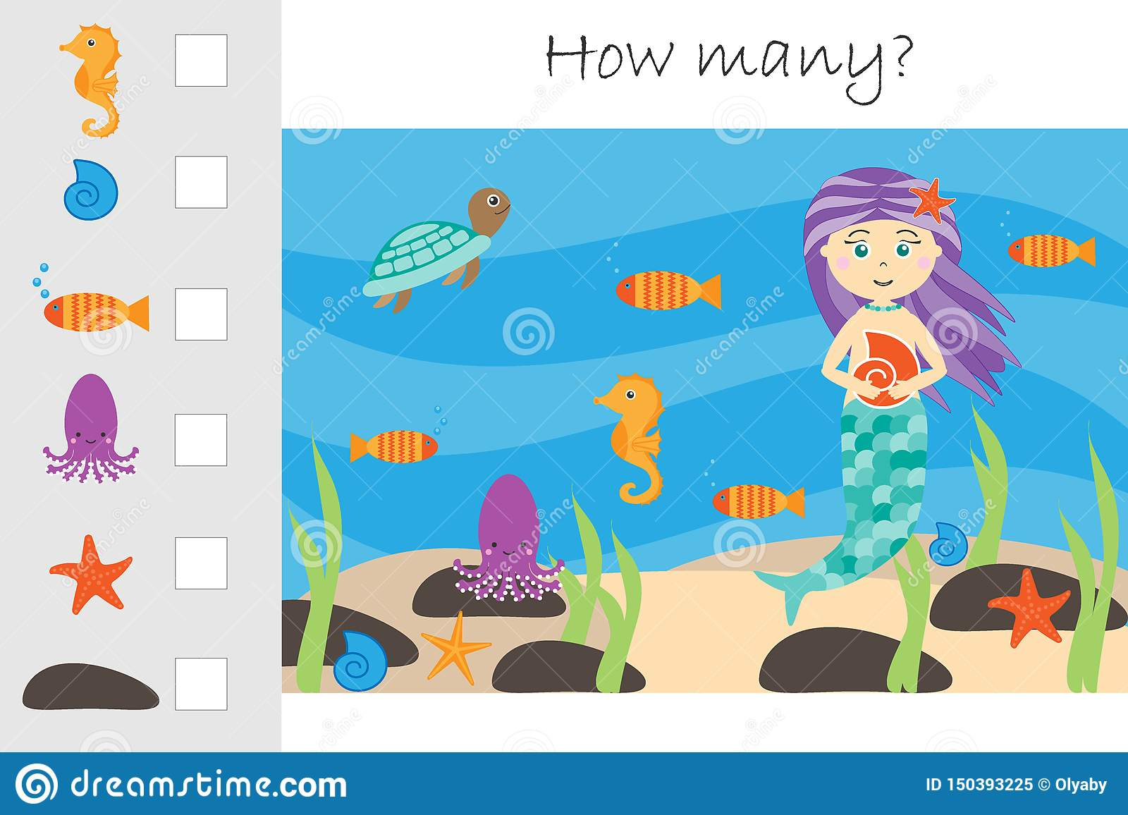 How Many Counting Game Mermaid In The Ocean For Kids