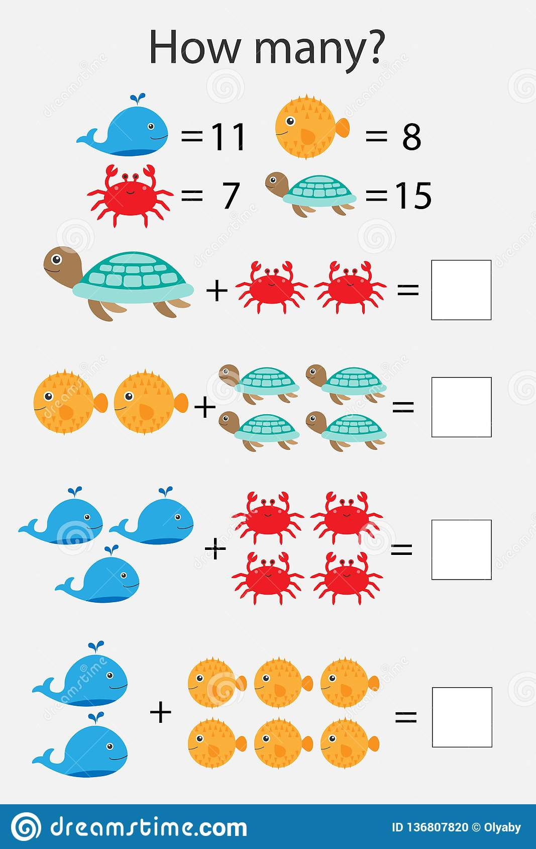 How Many Counting Game With Ocean Animals For Kids Educational Maths Task For The Development