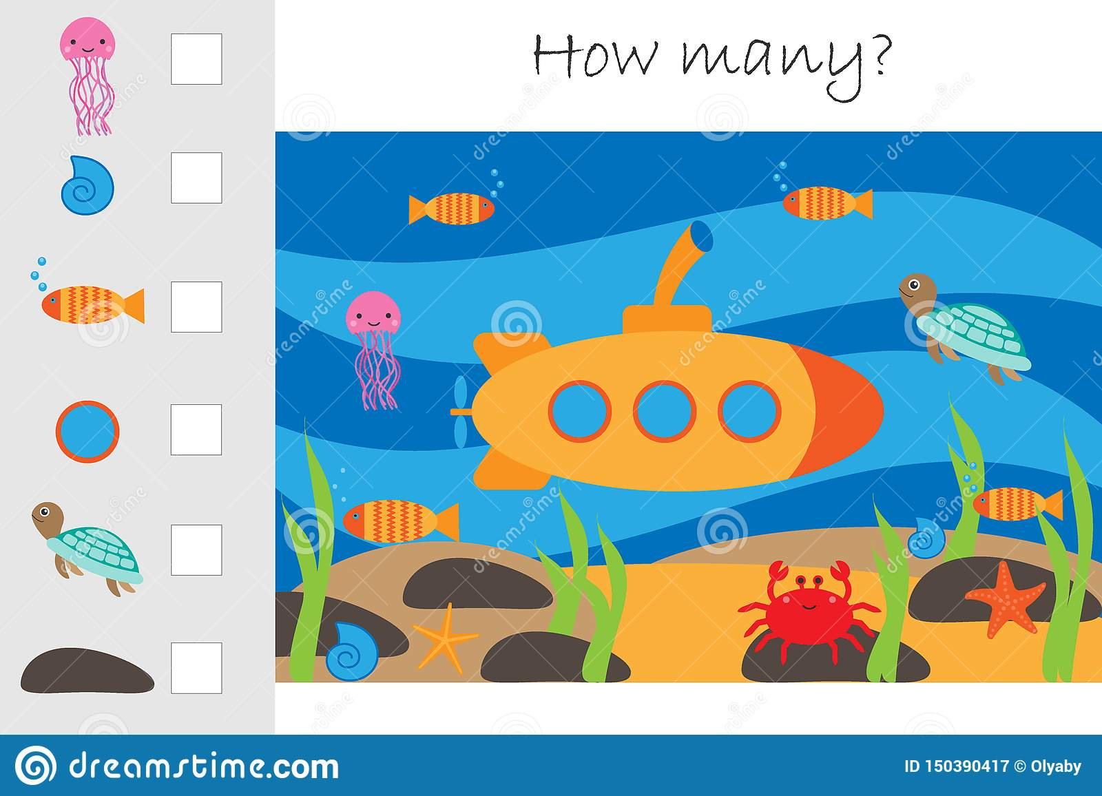 How Many Counting Game Submarine Under Water For Kids