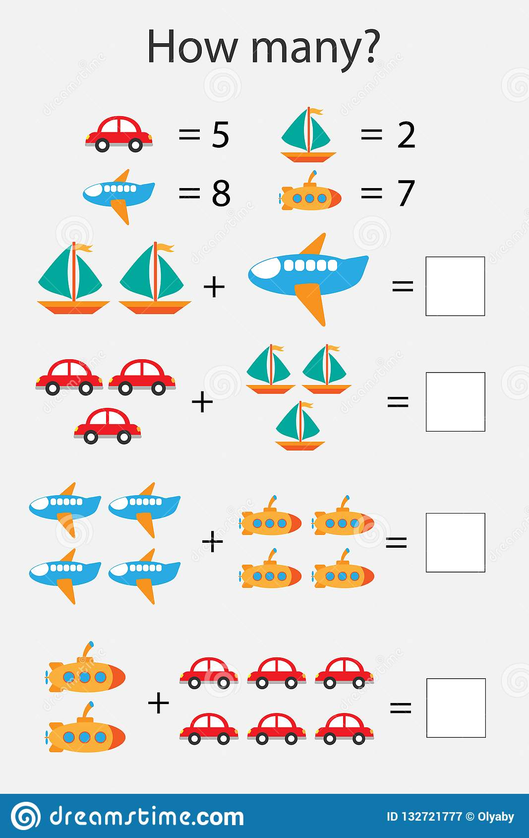 How Many Counting Game With Transport For Kids