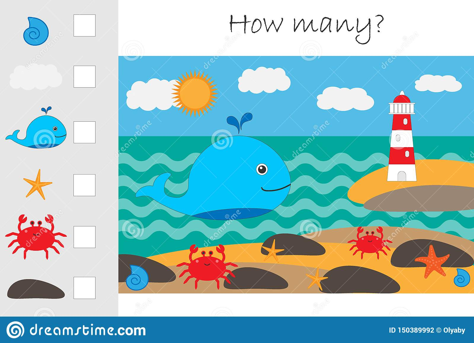 How Many Counting Game Whale And Lighthouse For Kids