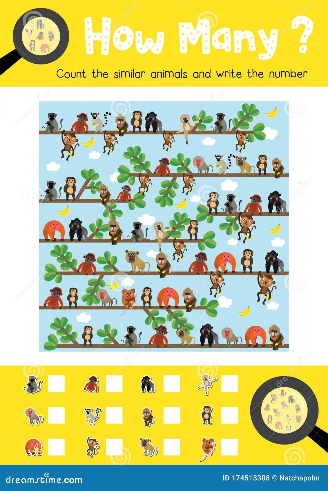 How Many Cute Monkey Stock Vector Illustration Of