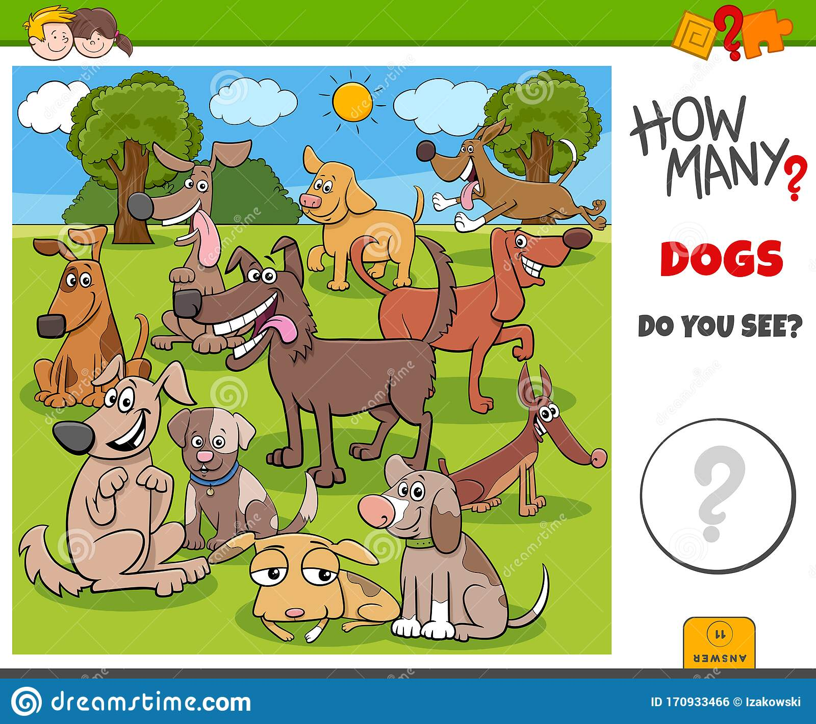 How Many Dogs Educational Game For Kids Stock Vector
