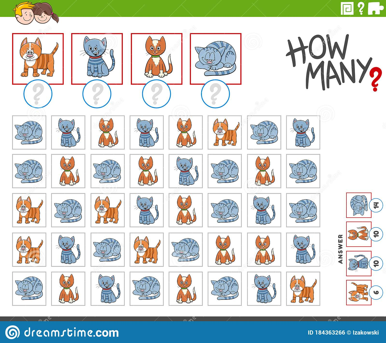 How Many Kitten Characters Counting Game Stock Vector