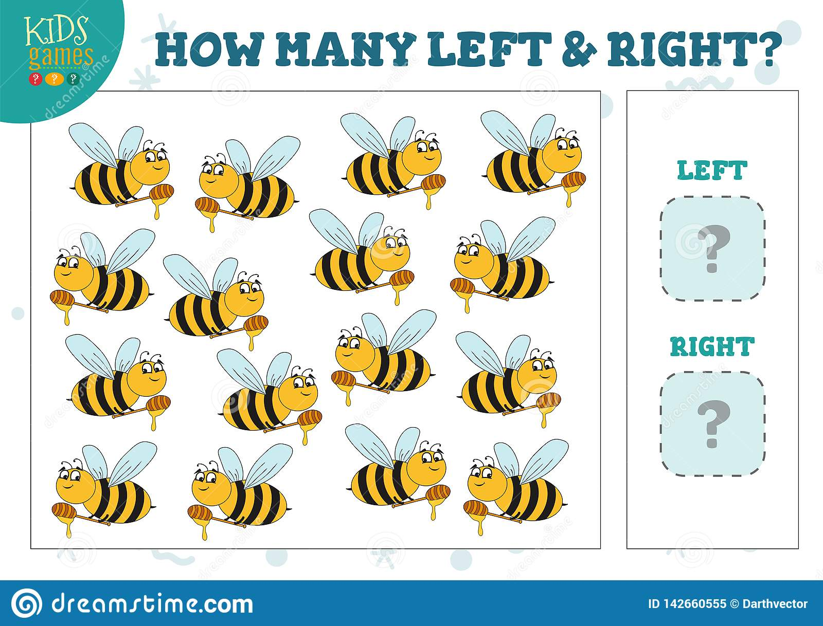 How Many Left And Right Cartoon Bees Kids Counting Game