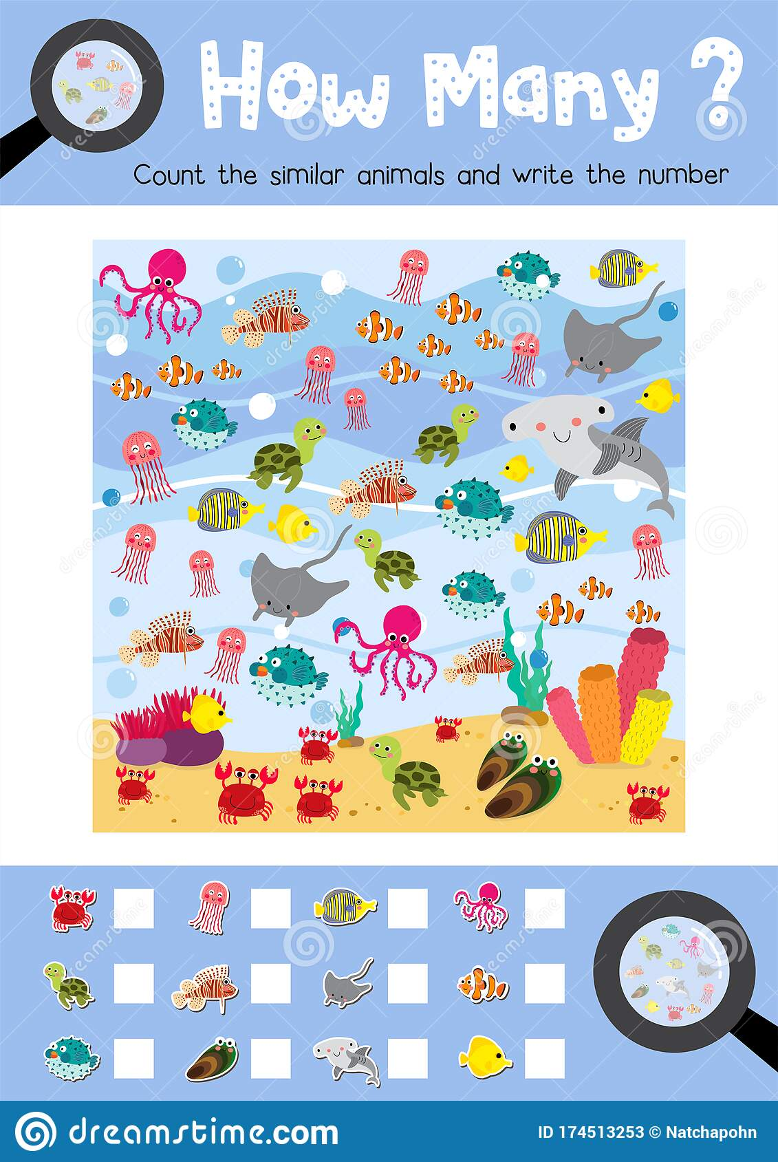 How Many Game Ocean Animal Stock Vector Illustration Of