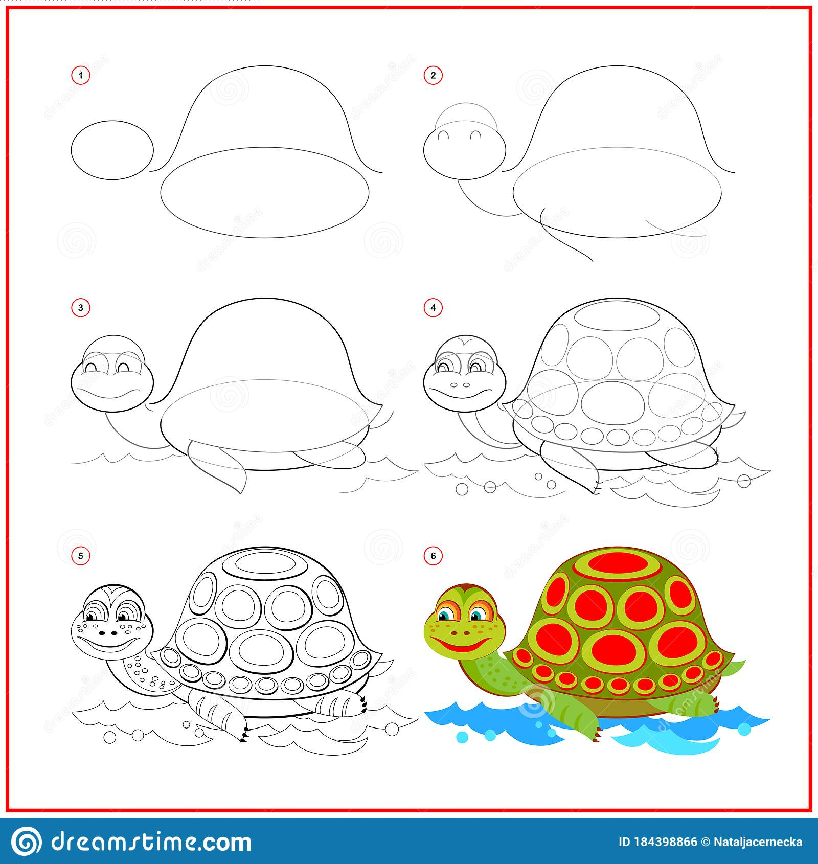How To Draw Cute Toy Turtle Educational Page For Children