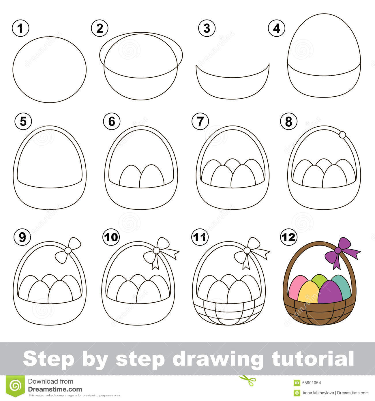 How To Draw A Easter Basket Stock Vector