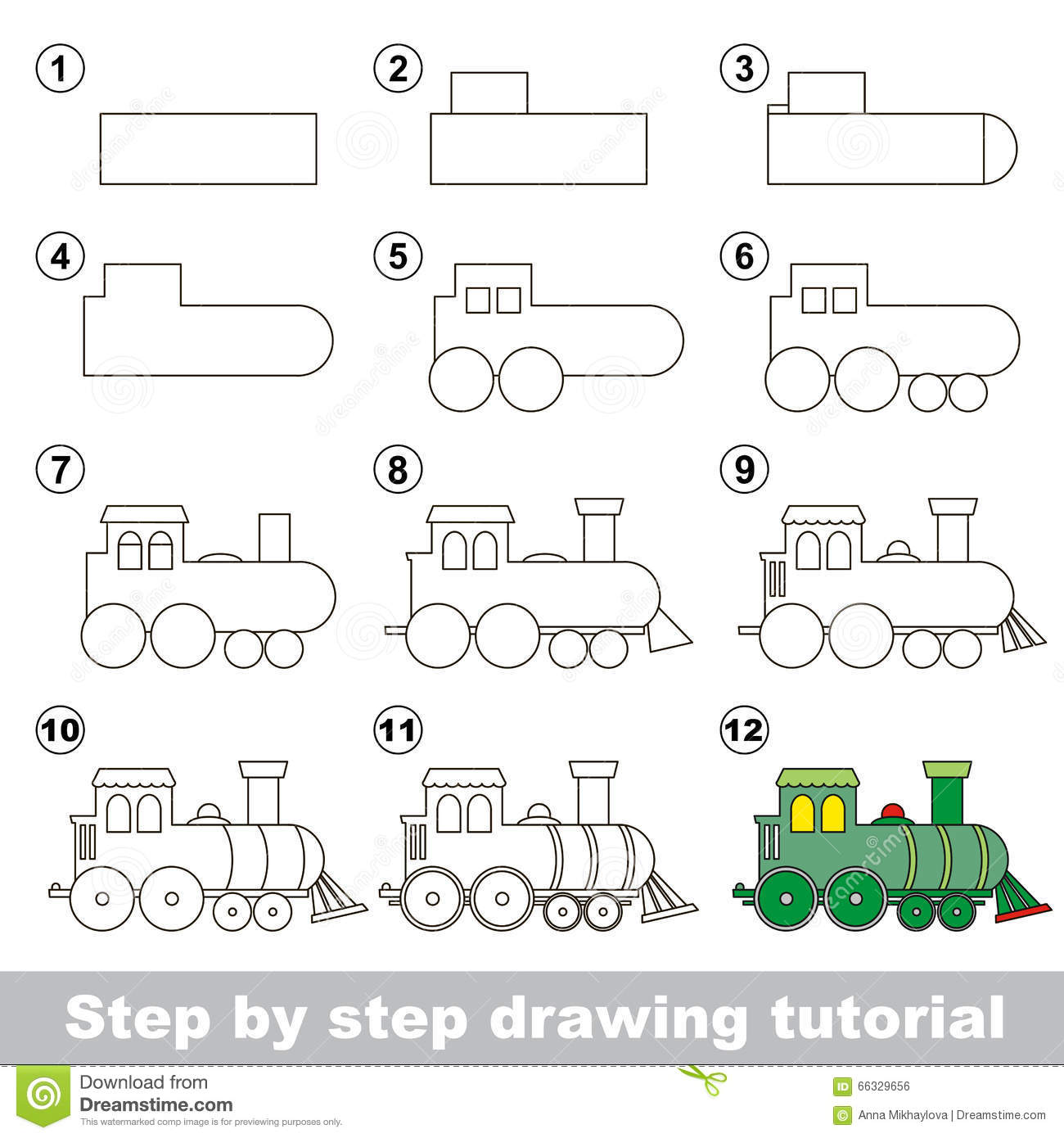How To Draw A Locomotive Stock Vector Illustration Of
