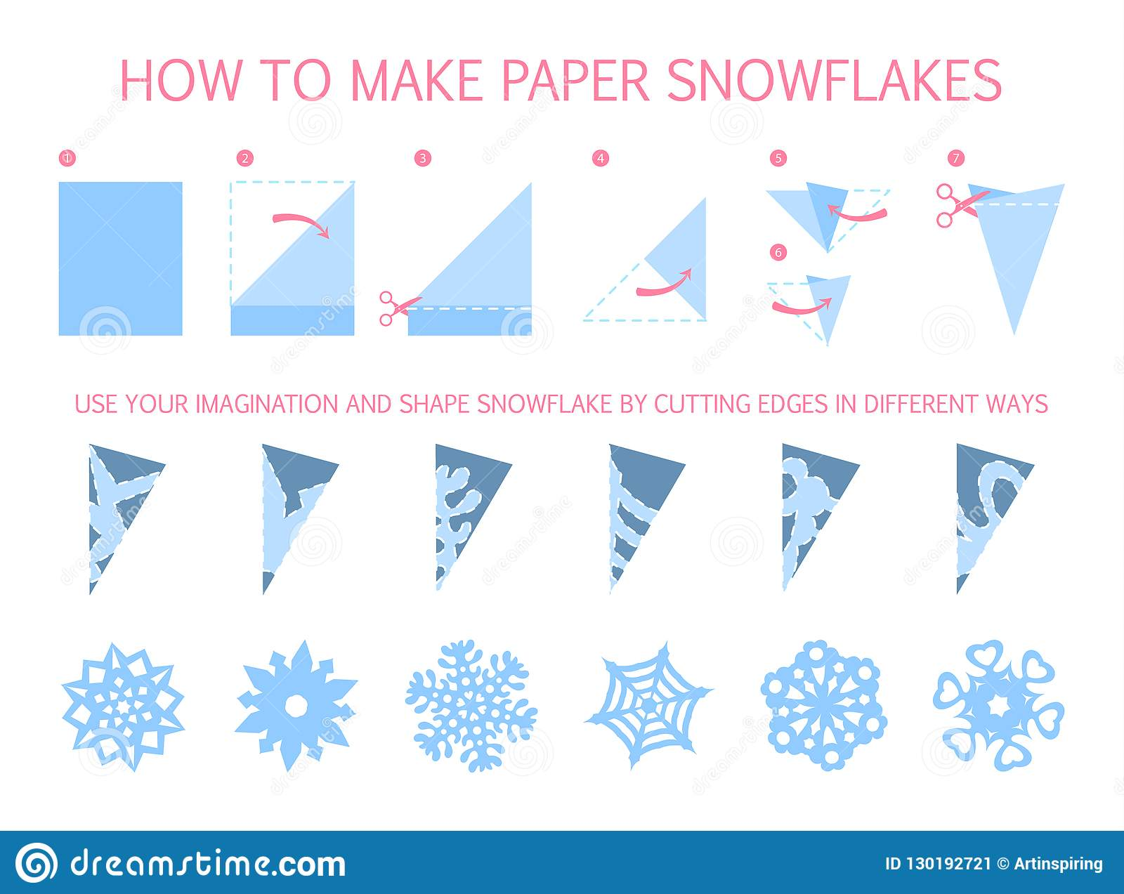 How To Make Christmas White Snowflake Of Different Shape
