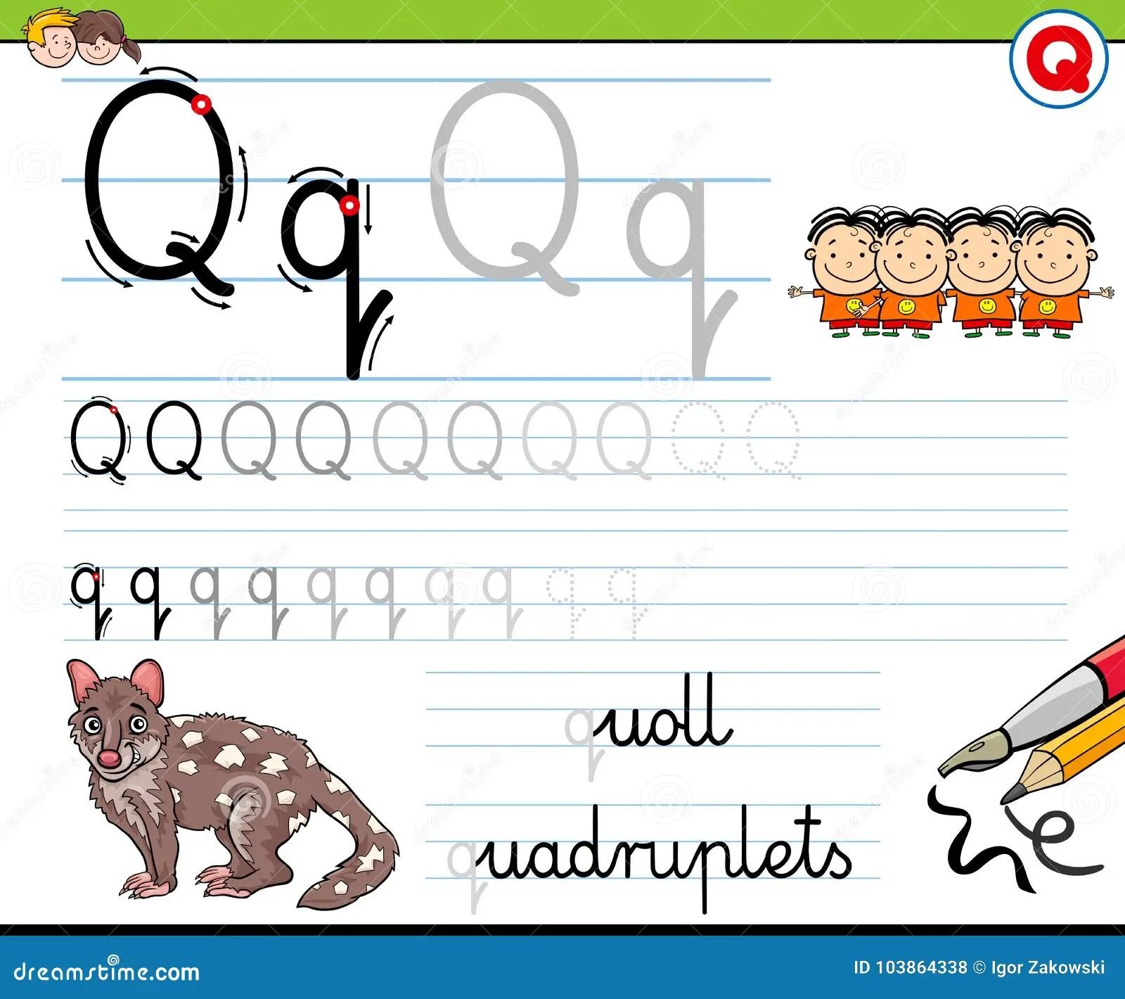 How To Write Letter Q Worksheet For Kids Stock Vector