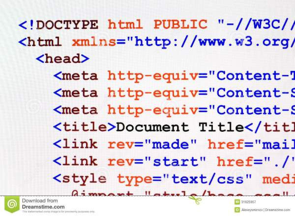 HTML Web Page Code Front View Royalty Free Stock ...