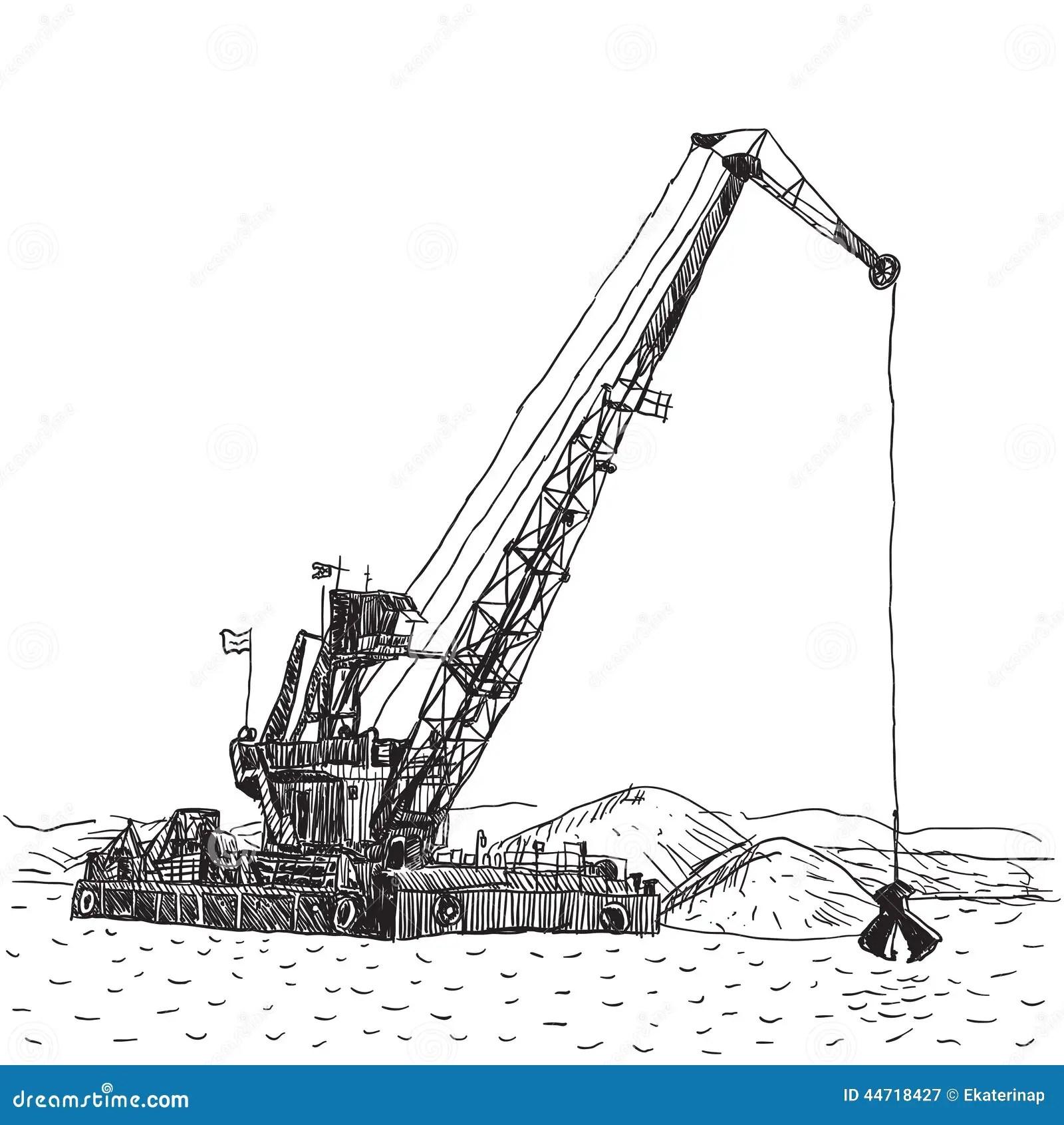 Huge Crane Barge Industrial Ship That Digs Sand Marine