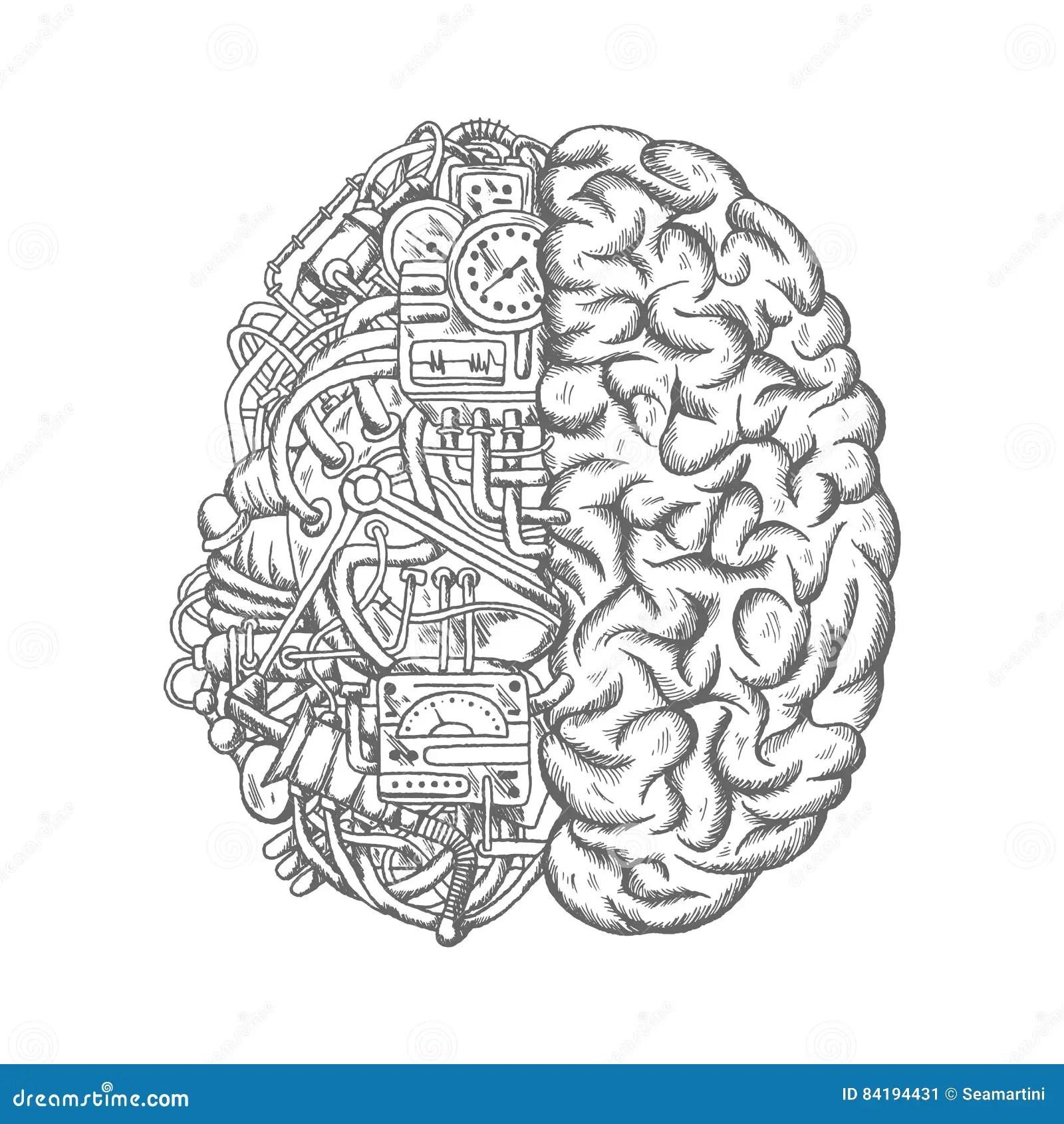 Human Brain Mechanism Engine Gears Vector Sketch Stock