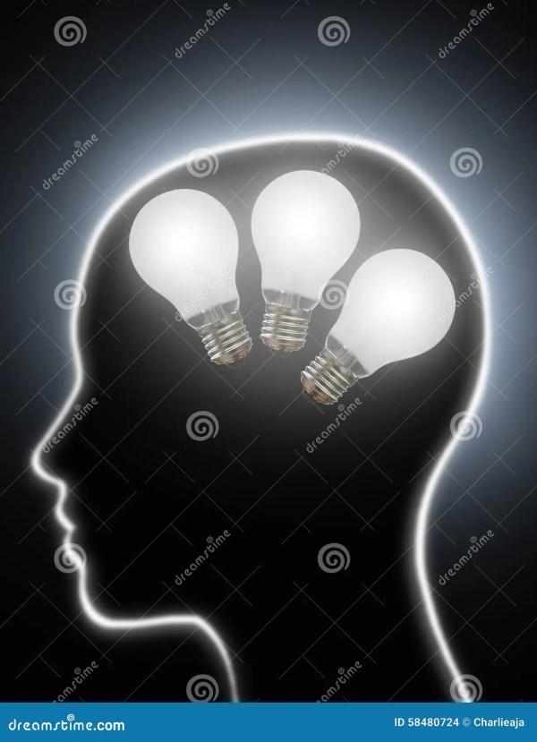 Human Brain Power Creativity Light Bulbs Stock Photo ...