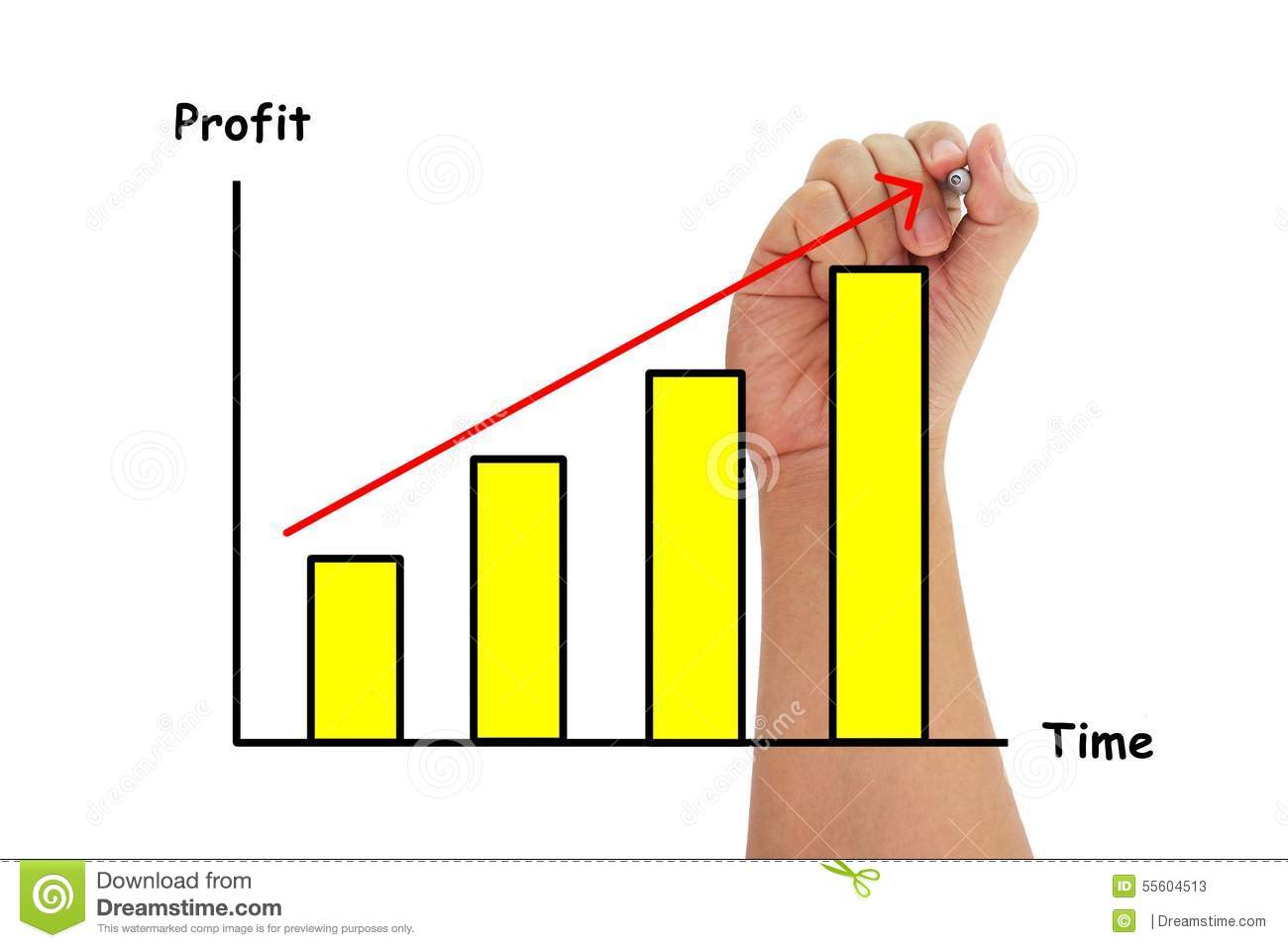 Human Hand Drawing Bar Chart Graph For Profit And Time
