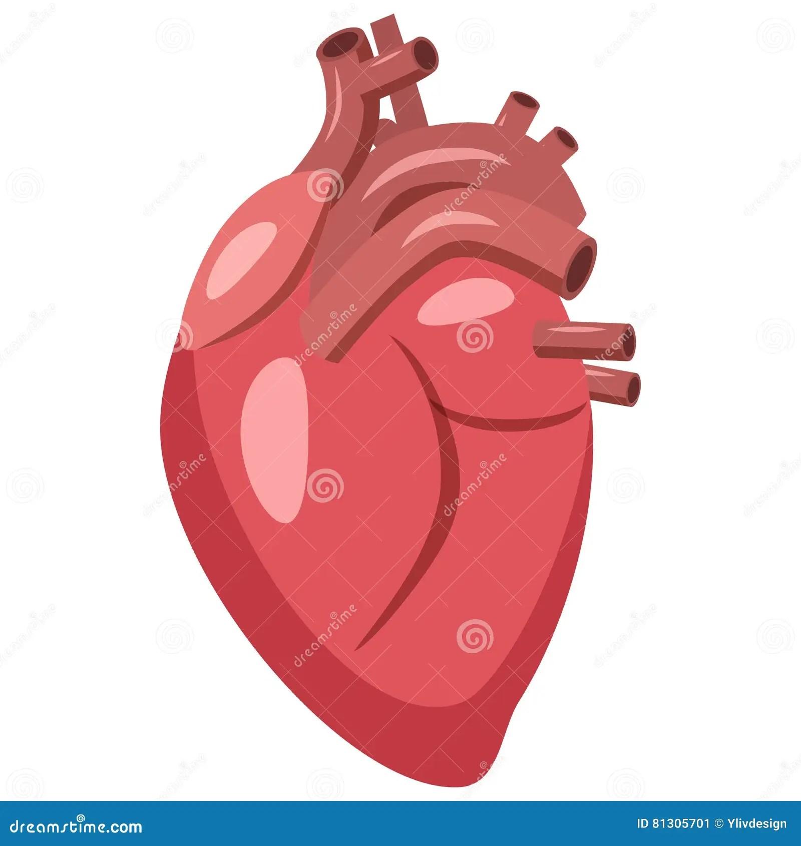 Human Heart Icon Cartoon Style Stock Vector