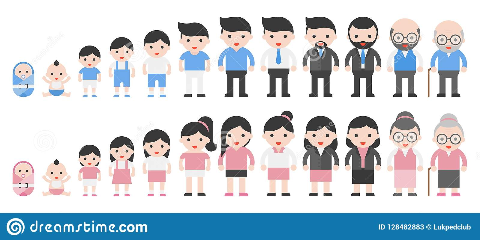 Human Life Cycle From Newborn To Retired Stock Vector