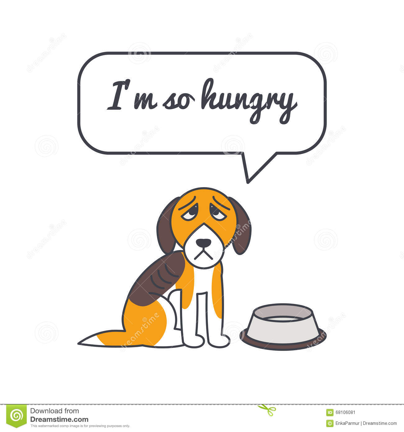 Hungry Dog With Speech Bubble And Saying Stock Vector