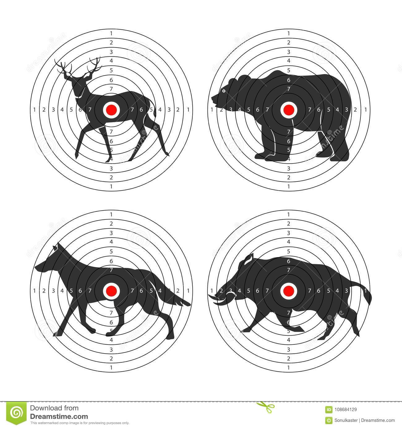 Hunting Animal Targets Vector Icons Template For Hunt