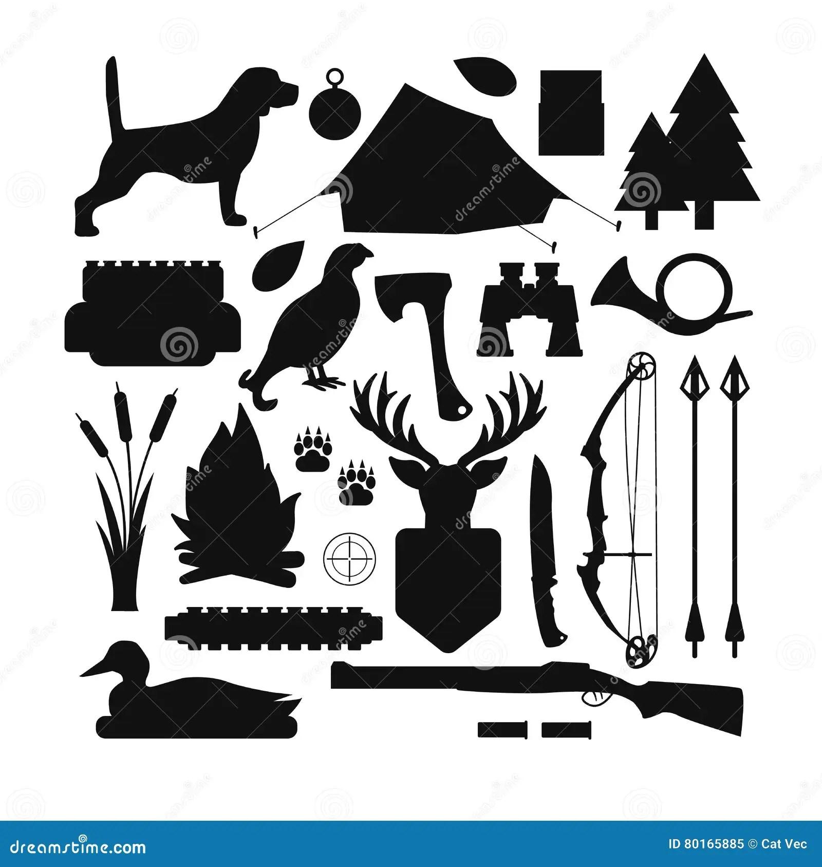Hunting Symbols Vector Set Cartoon Vector