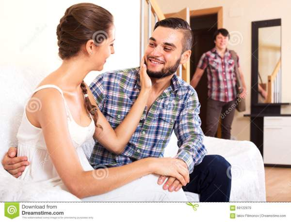 Husband Watching How Partner Is Cheating Stock Photo ...