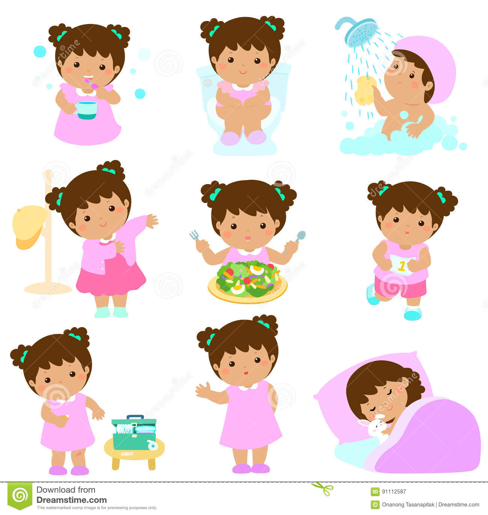 Hygiene Saine Pour La Bande Dessinee De Fille Illustration