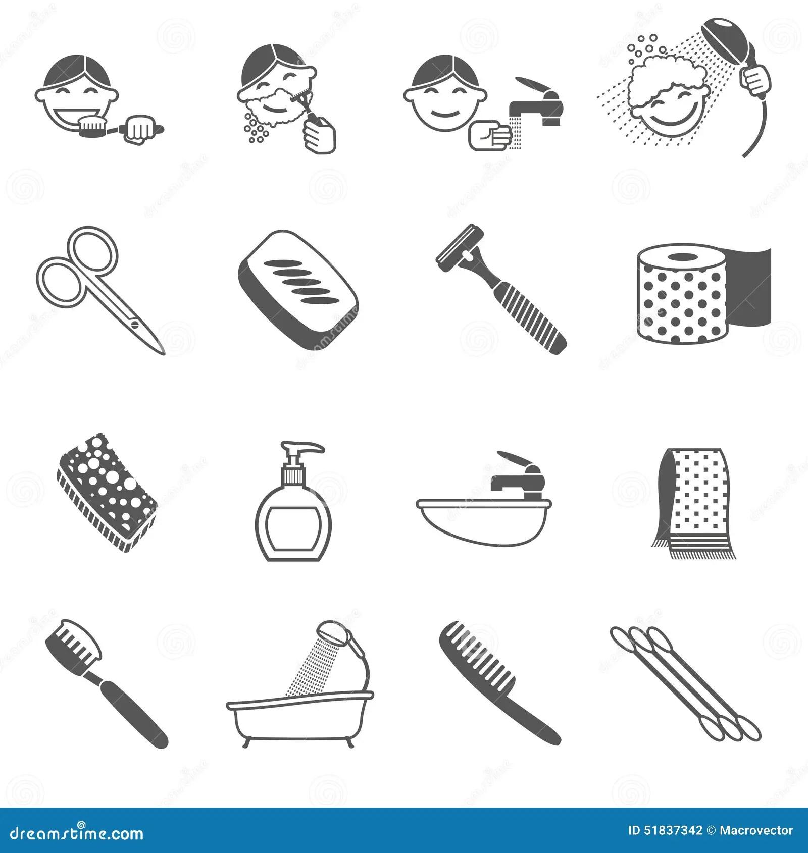 Hygiene Icons Black Stock Vector Image Of Hairbrush