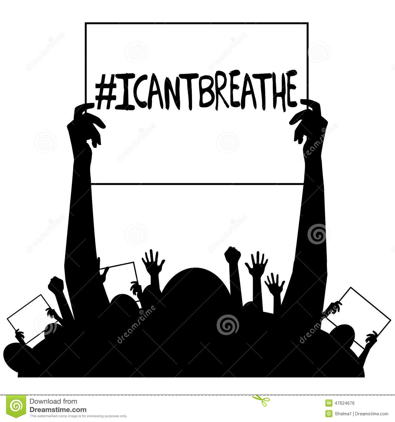 I Cant Breathe Protest Signs Silhouette Stock Vector
