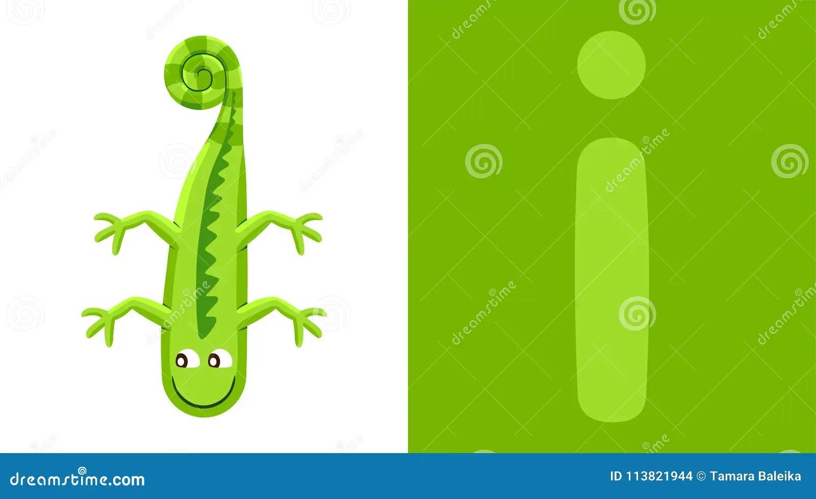 I Is For Iguana Letter I Iguana Cute Illustration