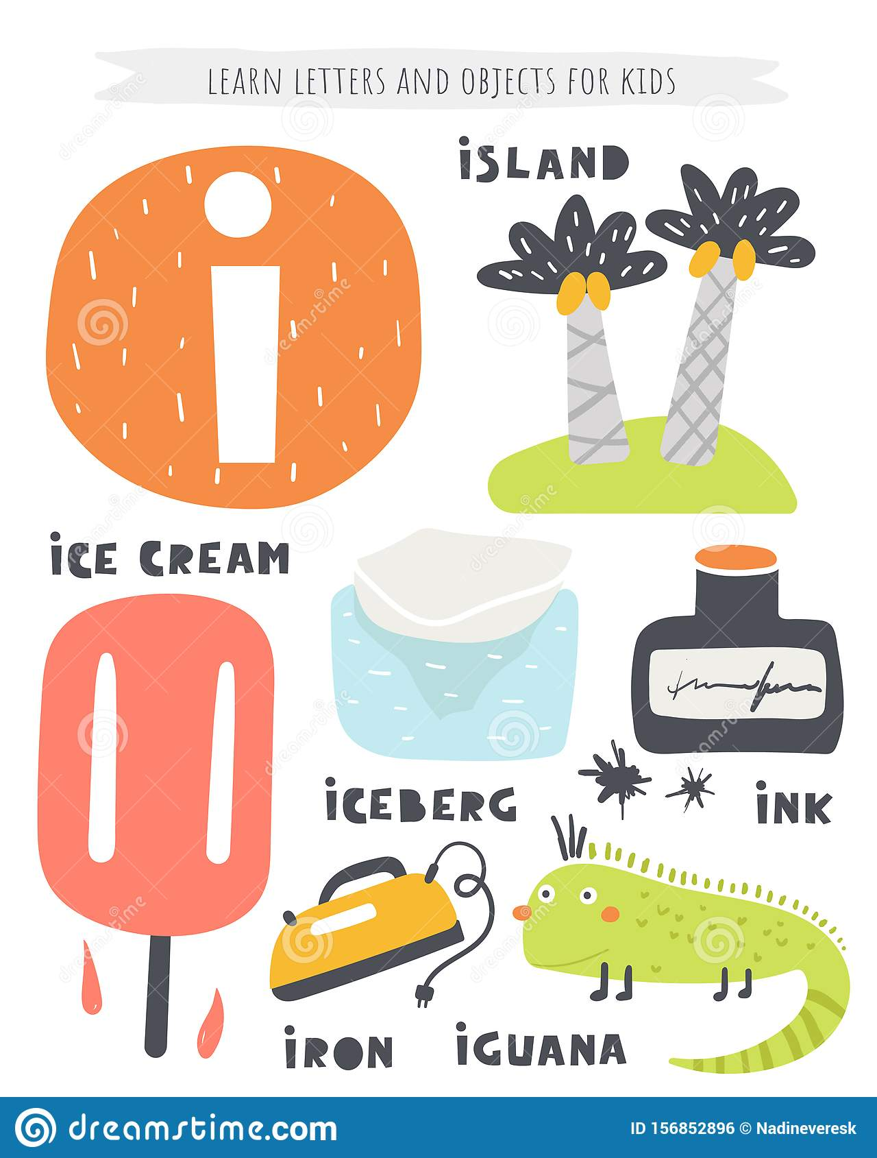 I Letter Objects And Animals Including Island Ice Cream