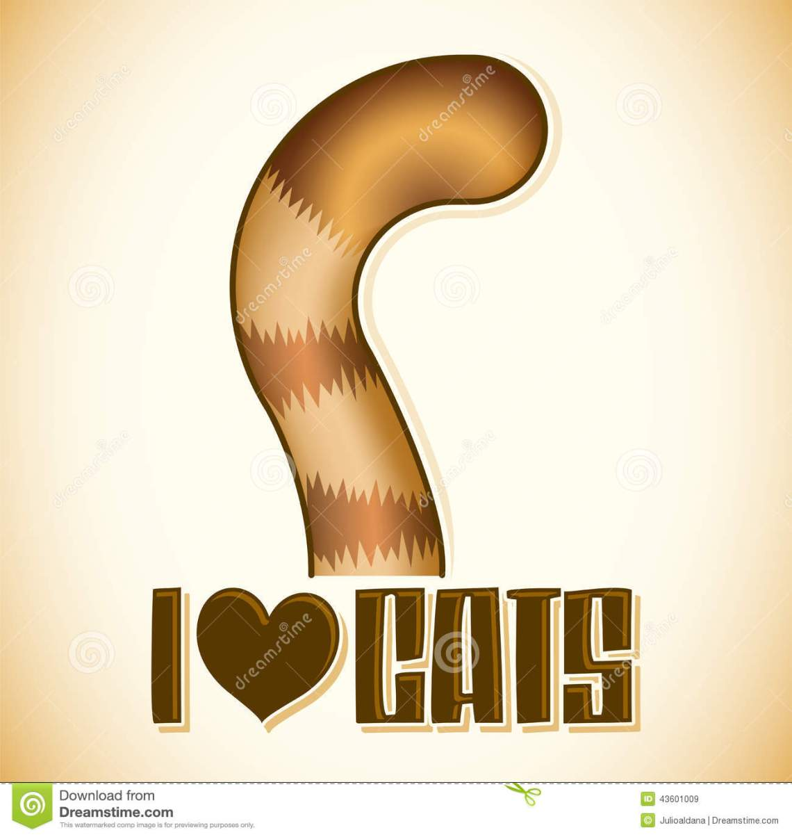 Download I Love Cats Vector Lettering, Cat Tail Icon - Emblem Stock ...