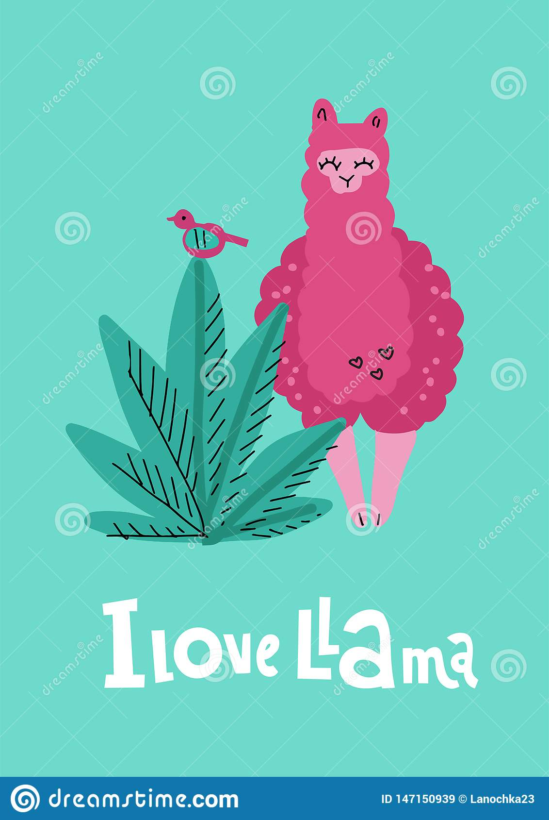 I Love Llama Greening Card With Pink Hand Drawn Alpaca