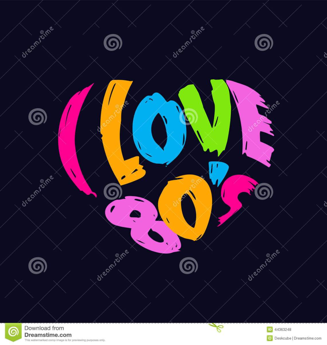 Download I Love 80s Heart Retro Logo Stock Vector - Illustration ...