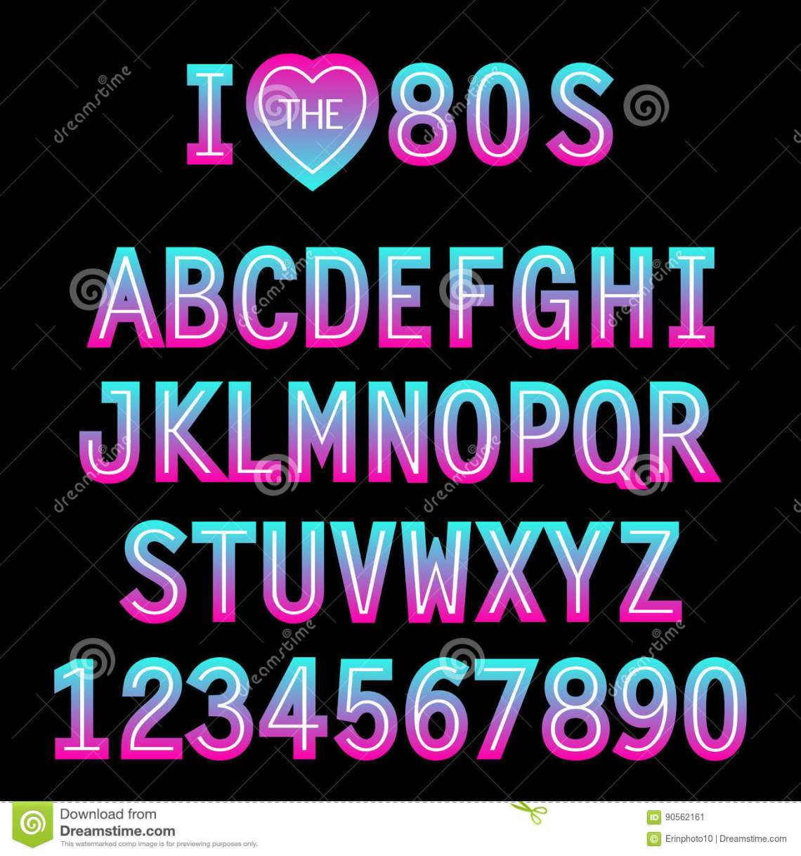 Download I Love 80s. Retro Font In Traditional Colors And Style ...