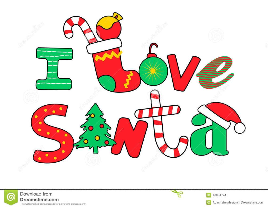 Download I Love Santa Wording On A White Background Stock Vector ...