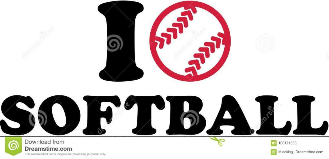 Download I love softball with ball stock vector. Illustration of ...