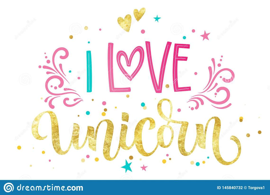 Download I Love Unicorn Hand Drawn Isolated Colorful Gold Foil ...