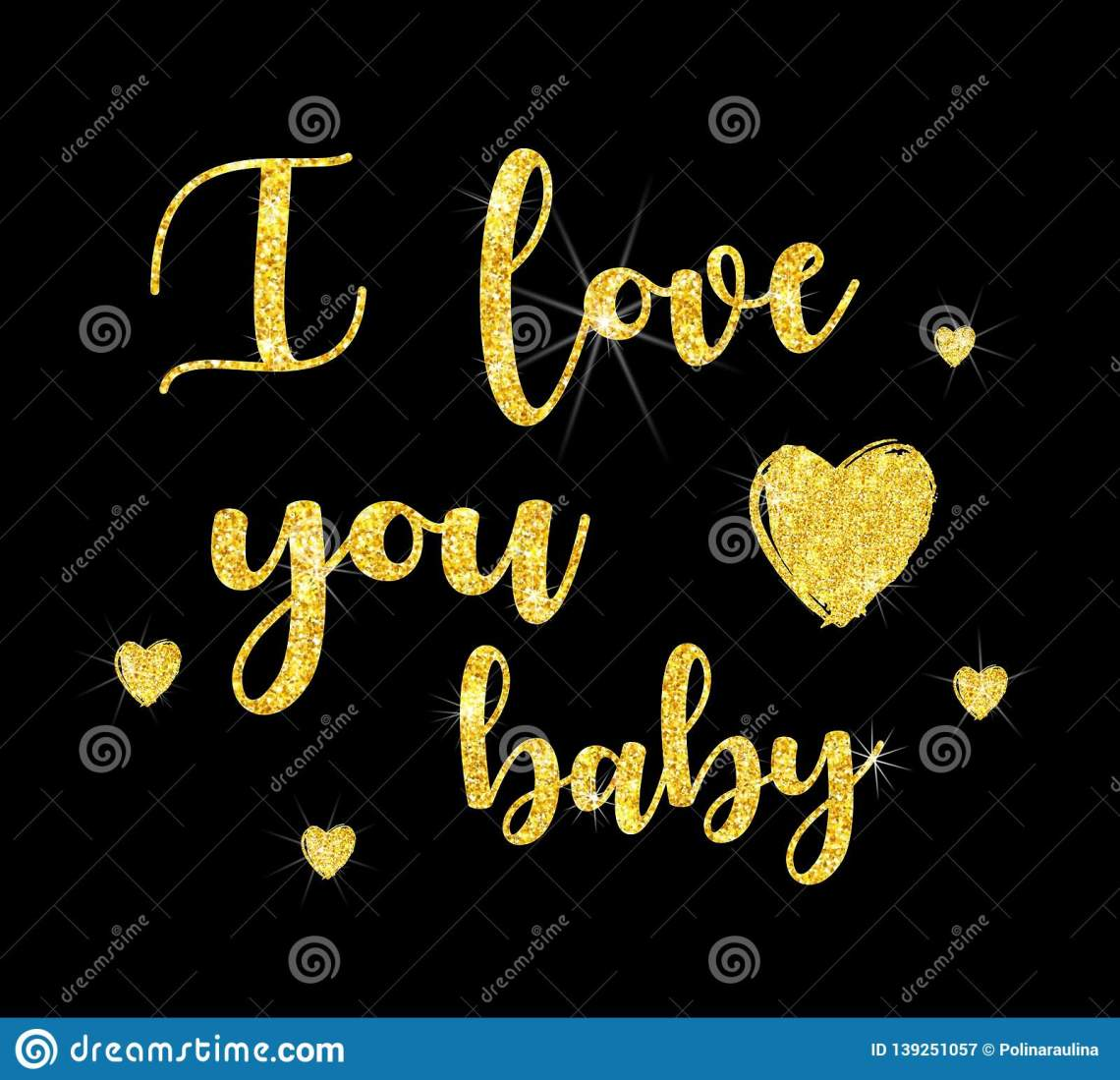 Download I Love You Baby .Glitter Font Lettering. Stock Image ...