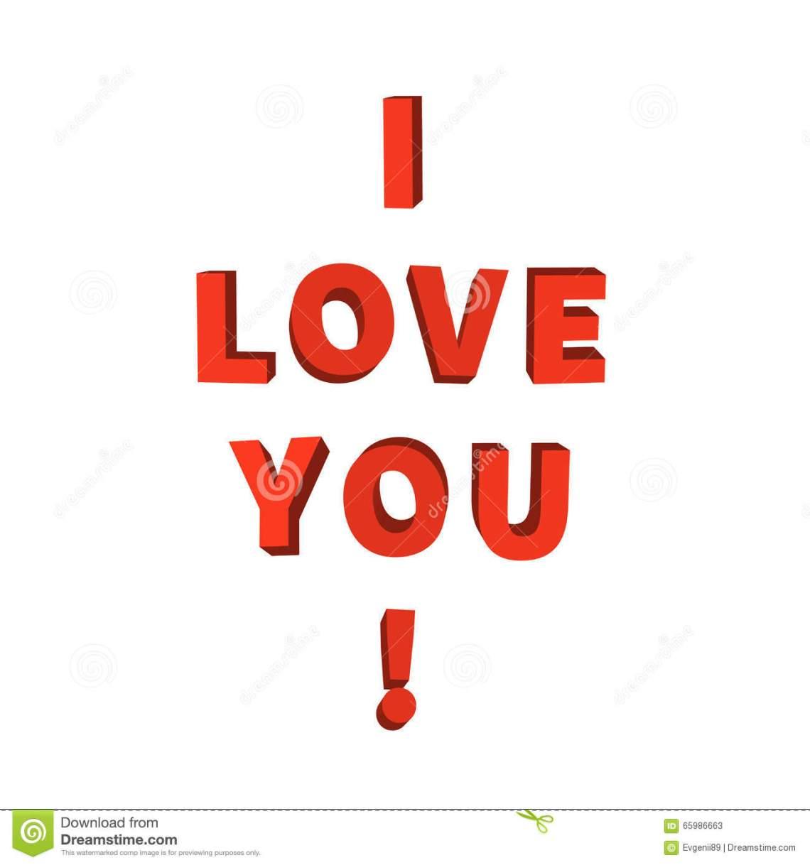 Download I Love You, 3d Red Lettering On White Stock Vector ...