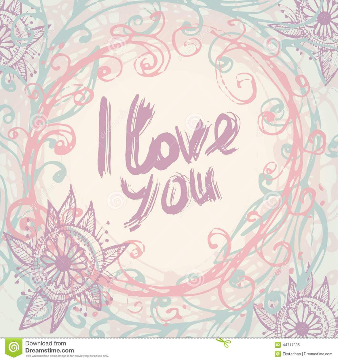 Download I Love You. Greeting Card Template In Vintage. Hand ...
